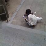 猫と戯れる少女 櫛田神社にて